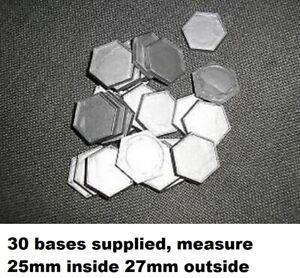 30 plastic Battletech type bases lipped hex grey
