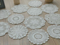 12 Crochet White Doilies Lot Country Wedding Table Runners Coasters in bulk