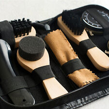 Shoe Shine Care Kit Black & Transparent Polish Brush Set for Boots Shoes Care