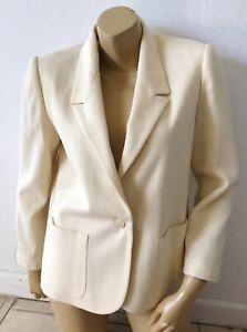 GREGGE Petite Womens Size 12 12P Cream Wool Vintage Single Button Blazer Jacket