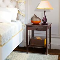 2 Layer Nightstand Bedside End Table Bedroom Side Wooden Storage w/ Drawer Brown