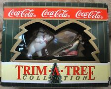 1996 Coca-Cola TRIM - A - TREE Collection Christmas Ornament Set x 2 Pcieces