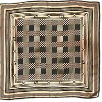 Fendi Silk Square Scarf Zucchino Monogram Logo Beige Green Foulard Authentic