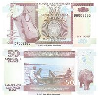 Burundi 50 Francs 2007  P-36g  Low Serial Numbers Banknotes UNC