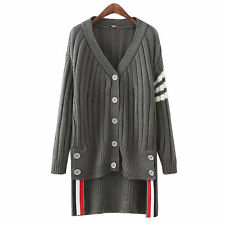 Womens Stripe V Neck Button Down High Low Cardigans Sweater Casual Outwear Tops