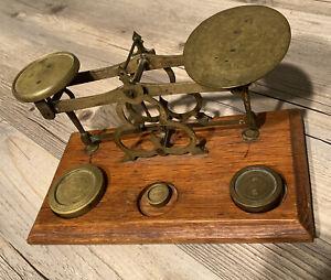 Antique Victorian English Brass & Wood Desktop Postal Postage Scale