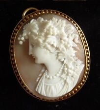 a Superb Victorian 15ct Gold Shell Cameo of Bacchante - Masterpiece Large 15.7g
