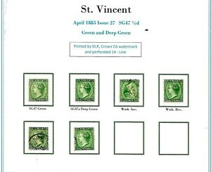 St Vincent SG47 1/2d Green/Deep Green 47,47a,47w and 47x