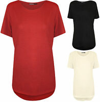New Plus Size Womens Plain Crepe Short Sleeve T-Shirt Ladies Dip Hem Top 14 - 28