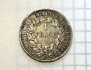 France 1 Franc 1851 - CERES 2nd Republic - Scarce Date Silver! Nice Details!