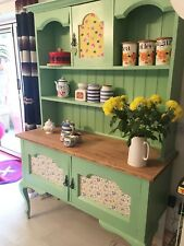 Vintage Oak Dresser, painted green with fabric inlays