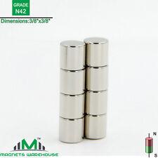 "8-count neodymium N42 Ndfeb cylinder magnets 3/8 x 3/8"" (true N42)"