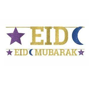 Eid Mubarak Glitter Letter Banner Eid Party Golden Decorations Islamic Festival