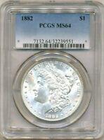 1882 Morgan PCGS MS-64 Silver Dollar Coin Philadelphia Mint Brilliant Luster $1