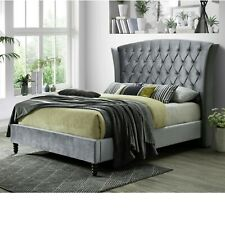 Queen Size High Back Styling Wing Fabric Bed Frame – Silver