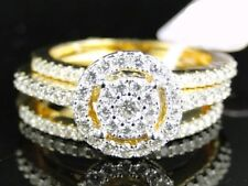 2.00 Ct Diamond 14K White Gold Fn 3-Pcs Bridal Wedding Band Engagement Ring Set