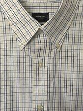 Arrow Dress Shirt Sz 18 34/35 Classic Fit White Blue Yellow Plaid Button Down