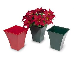 SMALL GREEN 23CM PLANTER IDEAL FOR CHRISTMAS POINSETTIA AND FESTIVE PLANTS XMAS
