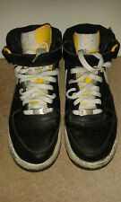 Mens Hi Top Trainers - Nike Air Force 1 - Black With White & Yellow - 5.5 UK
