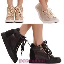 Zapatos de Mujer Zapatillas Deportivas Cuña Interior 7 Cremallera Nuevos 152011