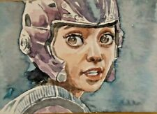 Alita battle angel aceo original watercolor sketch card
