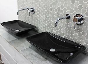 BLACK Counter Top Rectangle Ceramic Basin Bowl 580 x 360 x 115 Low Thin NEW