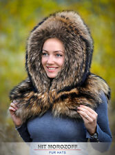 Finn RACCOON Saga Fur Hood Winter Hat Eskimo Collar Cape Wrap Waschbär Pelzhaube