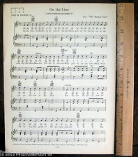 "JOHNS HOPKINS UNIVERSITY JHU Vintage Song Sheet c 1929 ""On the Line"" Original"