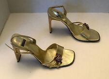 """Casadei Vero Cuoio gold size 6.5 B 3""""Heels Platform Sandals Flower accents"""