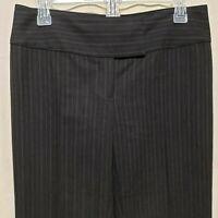 CAbi #634 Womens Sz 4 Dress Pants Black Gray Stripe Wide Waistband Straight Leg