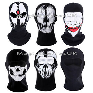 Biker Balaclava Full Face Mask Neck Warmer Tube Ghost Skull Scarf Bandana Ski