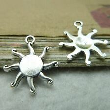 Pack Of  10 Pcs Sun Charms Antique Tibetan Silver Tone 2 Sided -TE1619