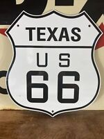 VINTAGE '' TEXAS ROUTE US 66'' 13X11.5 INCH PORCELAIN, GAS & OIL SIGN