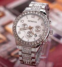 Silver Geneva Chronograph Designer Style Ladies Womens Crystals Bling Watch Free