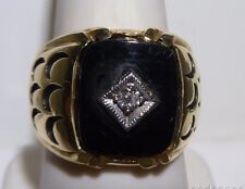 Amazing Men's Ring 14k Solid Gold Native American Onyx Water Waves Diamond