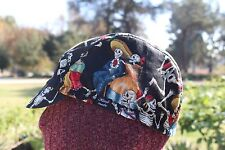 Cycling cap SKULL WITH SHINE LINES GOLD   one size 100/% COTTON   handmade