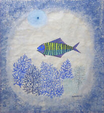 KEIKO MINAMI Signed c. 1960's Original Watercolor and Gouache on Paper Painting