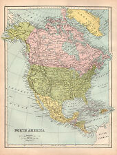 Map of North America 1880 Original Antique Large