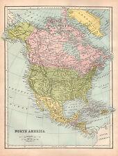 Map of North America 1880 Original Antique Large