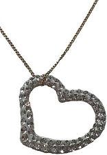 9ct  Yellow Gold, White Open Heart Pendant, Crystallized Swarovski Elements
