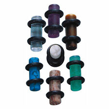 Acrylic 4 Gauge (5mm) Ear Plug Double Black O-Rings Sold by Pair