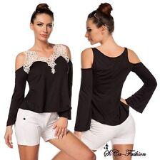 Taillenlange Damenblusen, - Shirts mit V-Ausschnitt ohne Muster