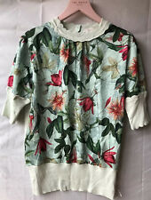 Ted Baker Scallop Trip Floral Jumper Pale Green Size 2 UK 10 Sample New