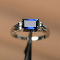 BJR2Ct Emerald Cut Blue Sapphire Solitaire Engagement Ring 14K White Gold Finish