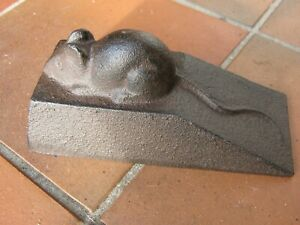 Rustic Cast Iron Mouse Paperweight  Cute Long Tailed Mouse Ornament Mouseman