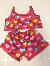 Build A Bear Girls red Candy Heart Valentines pajamas 2pcs Clothes
