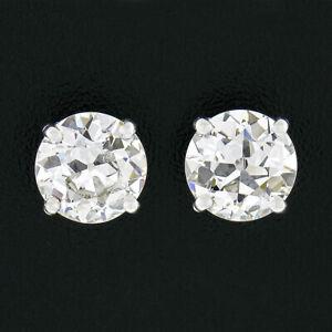 Antique Platinum 2.25ctw GIA Certified Old European Cut Diamond Stud Earrings
