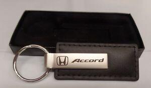 Stylish Black Leather HONDA ACCORD Laser Cut Key Chain