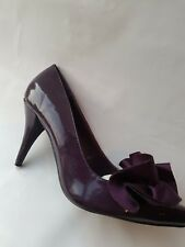 WOMENS LADIES PATENT COURT MID HIGH HEEL COURT SHOES WITH SATIN MATERIAL ON TOP
