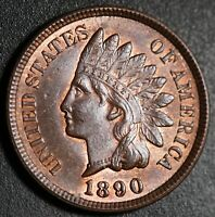 1890 INDIAN HEAD CENT - AU BU UNC - With CARTWHEELING MINT LUSTER!